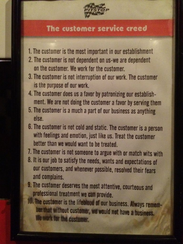 The customer service creed