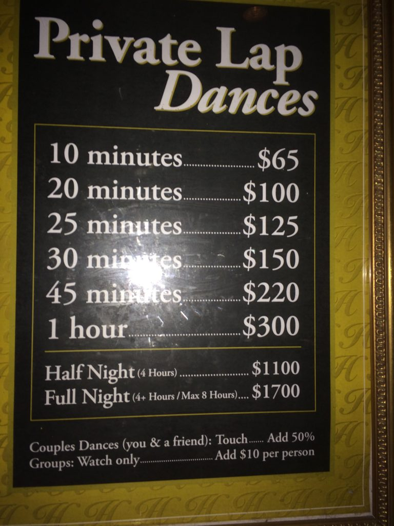Lap dance price list