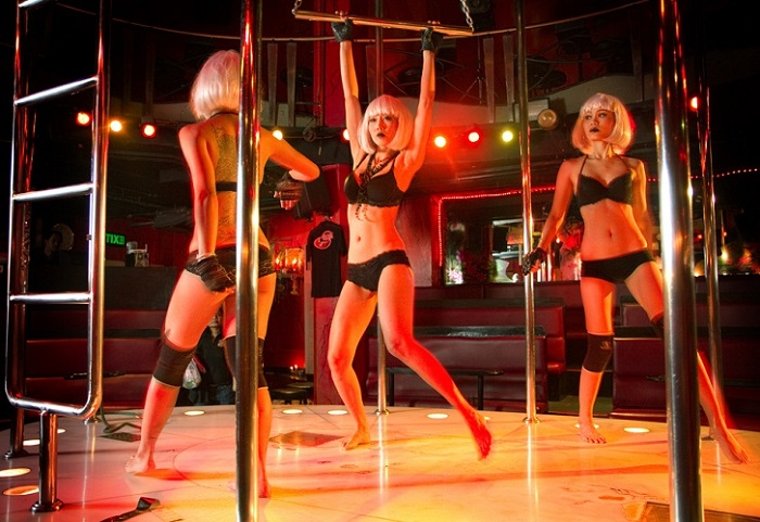 Three girls dancing on stage at Angelwitch Pattaya
